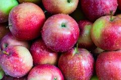 Rijpe appelenmening van bovengenoemde voedseltextuur stock fotografie
