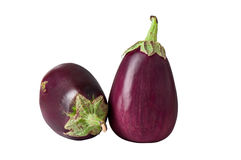 Rijpe aubergine op een witte achtergrond Stock Afbeelding