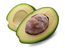 Rijpe avocado die op wit wordt geïsoleerda Stock Foto