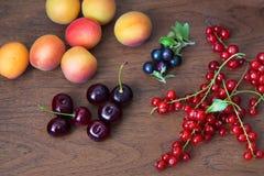 Rijpe Blackcurrants, Kersen, Rode aalbessen, Abrikozen Stock Afbeeldingen