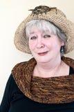 Rijpe dame met hoed royalty-vrije stock foto's