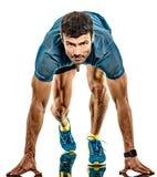 Rijpe de jogging jogger ge?soleerde witte achtergrond van de mensen lopende agent stock afbeelding