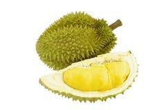 Rijpe Durian en geïsoleerd deel met aren Stock Foto