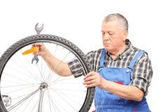 Rijpe fietswerktuigkundige die een wiel bekijken Stock Afbeeldingen