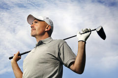 Rijpe golfspeler Stock Foto