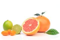 Rijpe grapefruit met kalk Royalty-vrije Stock Fotografie