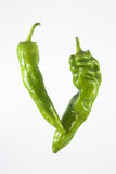 Rijpe groene paprika's Stock Foto's
