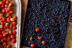 Rijpe heerlijke aardbeien en bosbessen op uitstekende houten lijst stock afbeeldingen