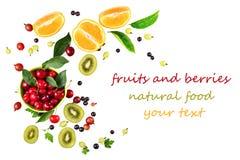 Rijpe kersenfruit en bessen Stock Foto's