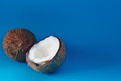 Rijpe kokosnoten en halve kokosnoot op blauwe achtergrond Royalty-vrije Stock Afbeelding