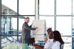 Rijpe manager die een nieuw plan verklaart aan h stock afbeelding