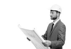 Rijpe mannelijke architect met een blauwdruk Stock Fotografie