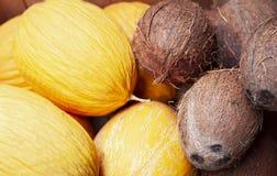 Rijpe meloenen en kokosnoten in de fruitmarkt, Catanië, Sicilië, Italië royalty-vrije stock fotografie