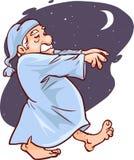 Rijpe mens in de vectorillustratie van het pyjama'sslaapwandelen vector illustratie