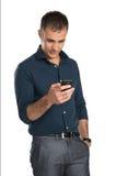 Rijpe Mens die Celtelefoon met behulp van royalty-vrije stock foto