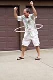 Rijpe mens met hulahoepel! Royalty-vrije Stock Foto's