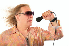 Rijpe mens met microfoon Royalty-vrije Stock Foto