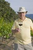 Rijpe Mens met Wijn Stock Fotografie