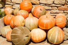 Rijpe oranje gestapelde pompoenen Royalty-vrije Stock Foto's