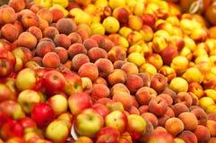 Rijpe perziken en appelen Royalty-vrije Stock Foto's