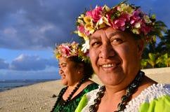 Rijpe Polynesische Vreedzame Eilandvrouwen Royalty-vrije Stock Foto