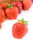 Rijpe rode aardbeien stock foto's
