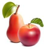 Rijpe rode appel en peer. Stock Afbeelding