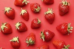Rijpe sappige aardbeien op een rode achtergrond Patroon stock afbeeldingen