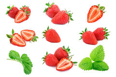 Rijpe sappige aardbeien op een witte achtergrond Royalty-vrije Stock Afbeeldingen