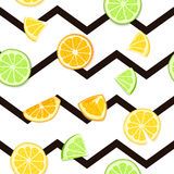 Rijpe sappige tropische fruit gestreepte naadloze achtergrond Vectorkaartillustratie Vers oranje de citroenfruit van de citrusvru Stock Foto's