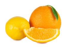 Rijpe sinaasappel en citroen Royalty-vrije Stock Fotografie
