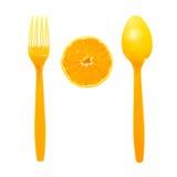Rijpe sinaasappel en lepel Stock Foto's