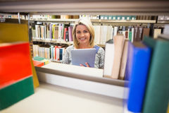 Rijpe student die in bibliotheek glimlachen Stock Afbeelding