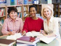 Rijpe studenten die in bibliotheek bestuderen Stock Afbeeldingen