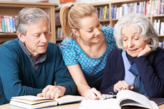 Rijpe Studenten die met Leraar In Library werken Stock Foto's