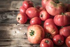 Rijpe tomaten op houten achtergrond Royalty-vrije Stock Afbeeldingen