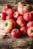 Rijpe tomaten op houten achtergrond Royalty-vrije Stock Afbeelding