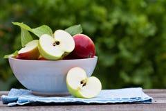 Rijpe verse appelen in een kom Stock Fotografie