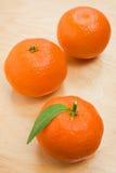 Rijpe verse mandarijn drie Stock Foto