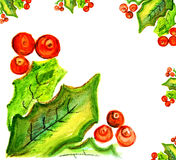 Rijpe viburnumbessen met bladeren Royalty-vrije Stock Afbeeldingen