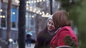 Rijpe vrouw en haar gegroeide dochterzitting op een bank in het stad park en het bespreken Warme Verhouding Moeder ` s stock footage