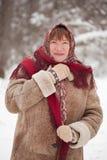 Rijpe vrouw in hoofddoek Royalty-vrije Stock Afbeelding