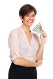 Rijpe vrouw met Amerikaans dollarsgeld Stock Afbeelding