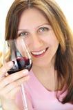 Rijpe vrouw met een glas rode wijn Stock Afbeelding