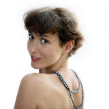 Rijpe vrouw met een halsband royalty-vrije stock fotografie