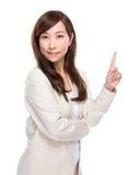 Rijpe vrouw met omhoog vinger Royalty-vrije Stock Fotografie