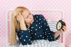 Rijpe vrouw met slapeloosheid Royalty-vrije Stock Fotografie