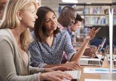 Rijpe Vrouwelijke de Computervaardigheden van Studentenwith tutor learning royalty-vrije stock foto