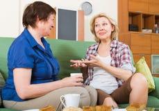 Rijpe vrouwelijke het drinken twee thee Stock Afbeeldingen