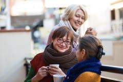 Rijpe vrouwen die thee drinken royalty-vrije stock afbeeldingen
